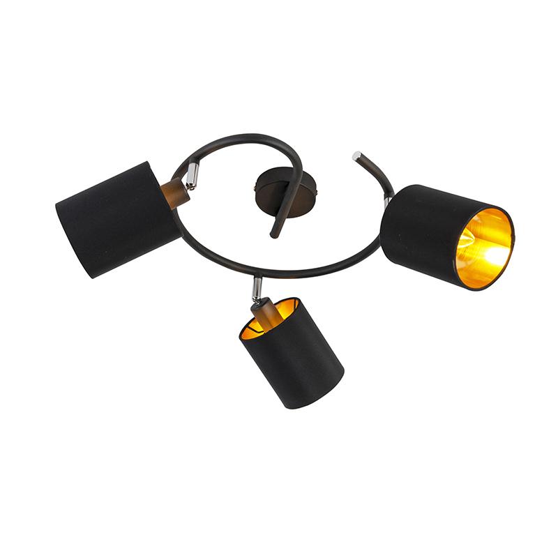 Smart plafondlamp zwart incl. 3 wifi B35 - Lofty