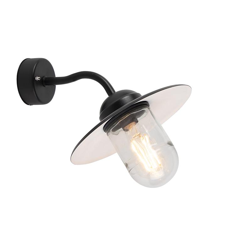 Smart buiten wandlamp zwart IP44 incl. WiFi A60 - Munich
