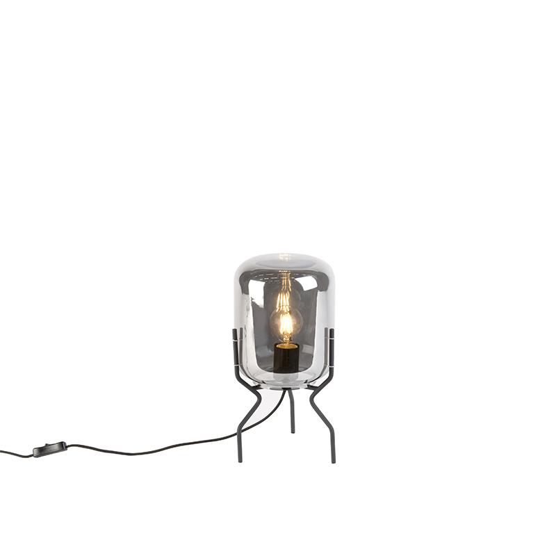 Smart tafellamp zwart met smoke glas incl. wifi A60 - Bliss