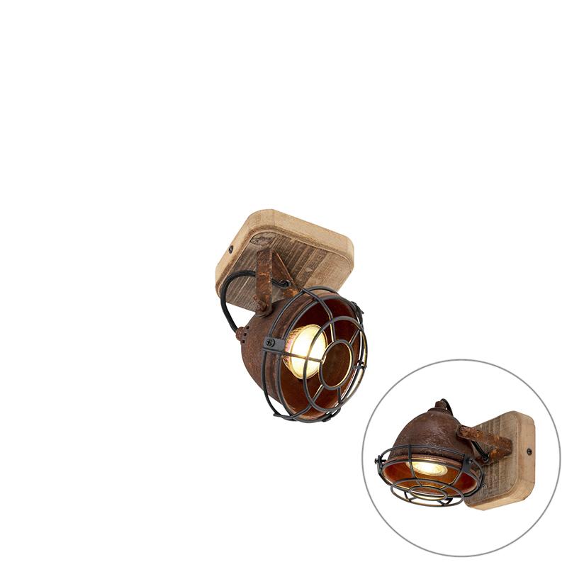 Smart spot roestbruin met hout kantelbaar incl. Wifi GU10 - Gina