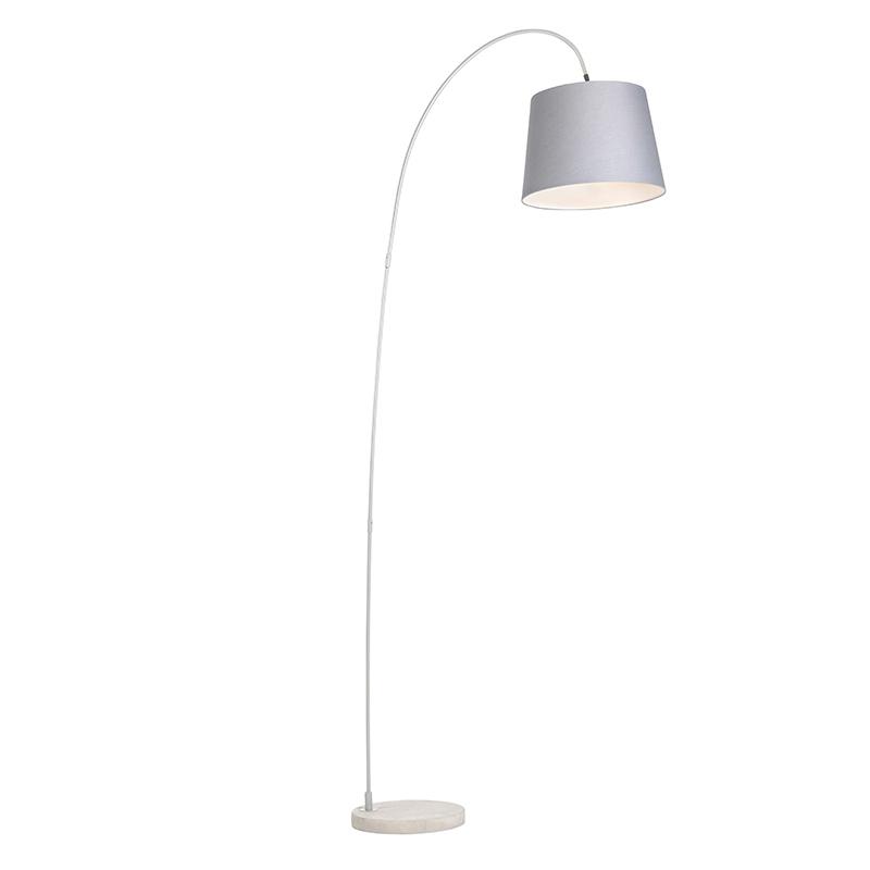 Smart booglamp staal stoffen kap grijs incl. WiFi A60 - Bend