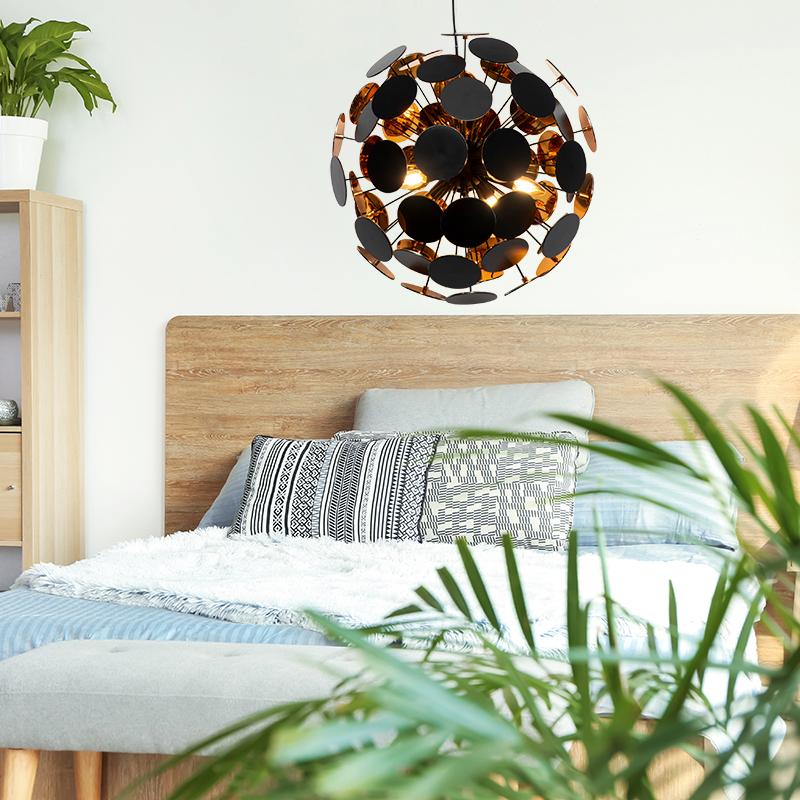 Hanglamp Slaapkamer, modern design, sfeervolle eyecatcher, goud, zwart