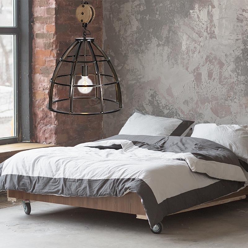 Slaapkamer Hanglamp Industrieel, zwart, stoer en sfeervol