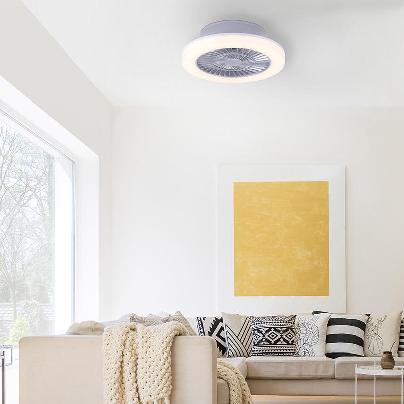 Design plafondventilator grijs incl. LED - Saki