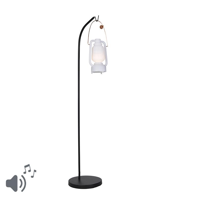 Vloerlamp zwart met wit met speaker oplaadbaar IP44 - Mart Storm Music