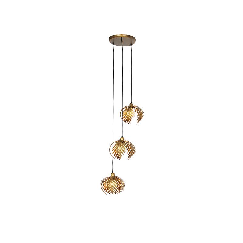 Vintage hanglamp messing 3-lichts - Botanica