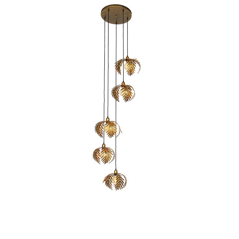 Vintage hanglamp messing 5-lichts - Botanica