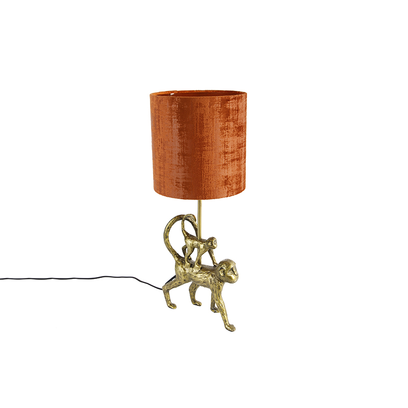 Vintage tafellamp goud met stoffen kap rood - Animal Aap Unge