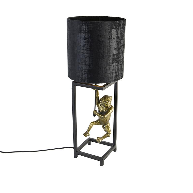 Tafellamp zwart stoffen kap zwart 25 cm - Animal Cage Abe