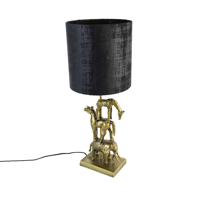 Vintage tafellamp messing met kap zwart 25 cm- Dier Tre