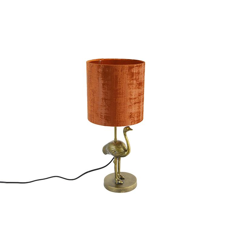 Vintage tafellamp goud stoffen kap rood - Ostrich