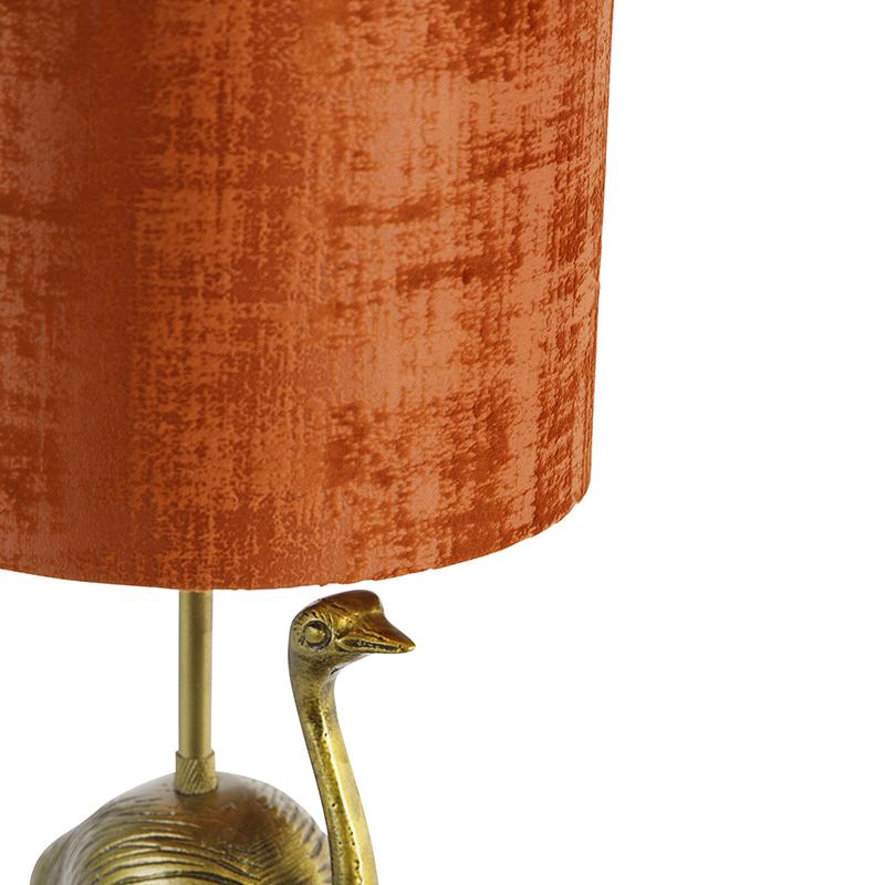 Vintage tafellamp goud stoffen kap rood - Animal Ostrich