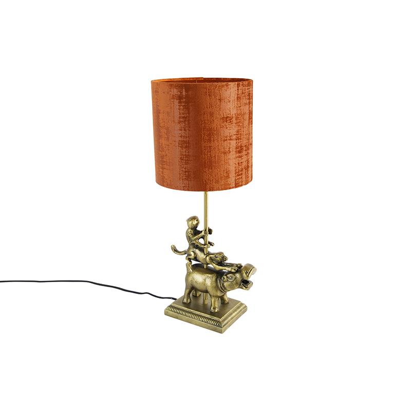 Vintage tafellamp messing stoffen kap rood - Animal Flodhest Abe