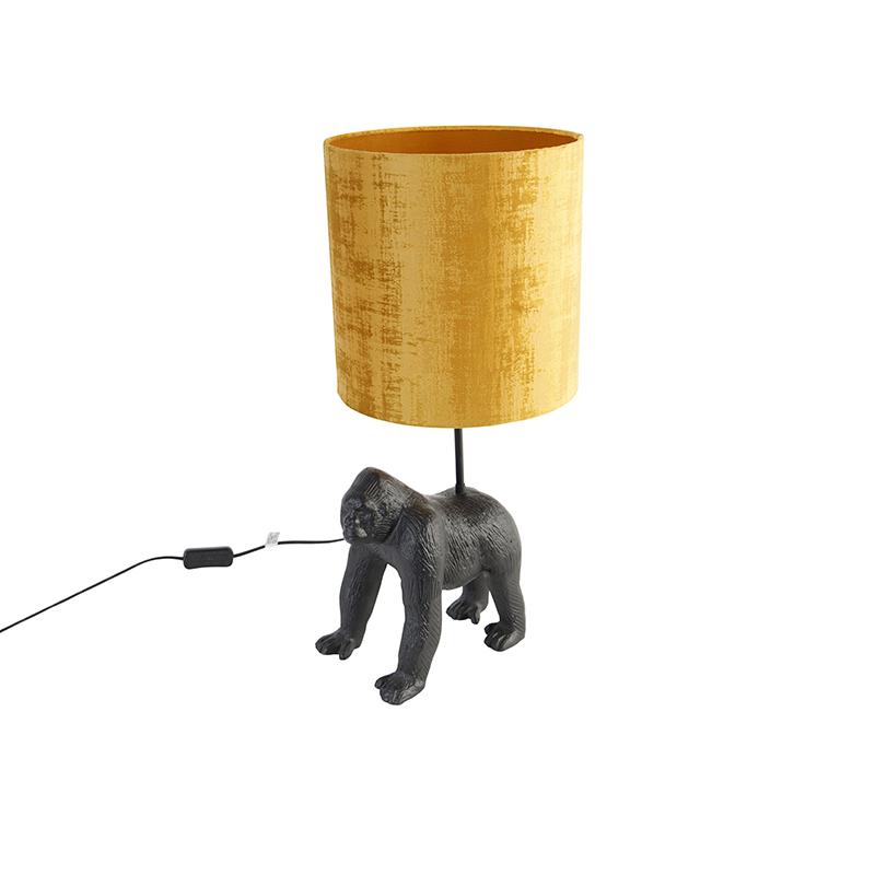 Vintage tafellamp zwart stoffen kap goud Animal Gorilla