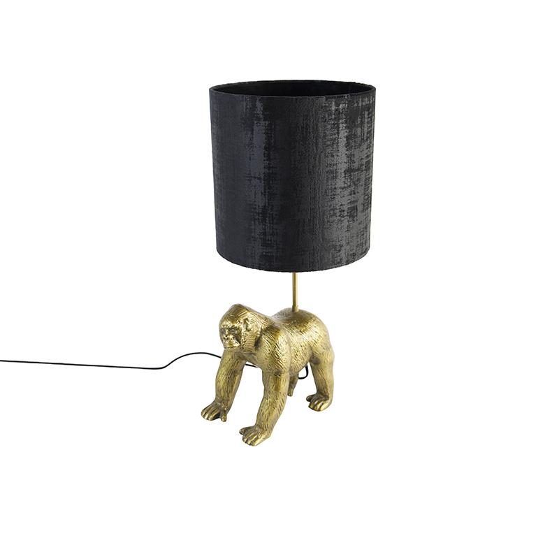 Vintage tafellamp goud stoffen kap zwart Animal Gorilla