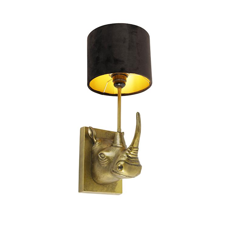 Vintage wandlamp goud stoffen kap zwart - Naesehorn