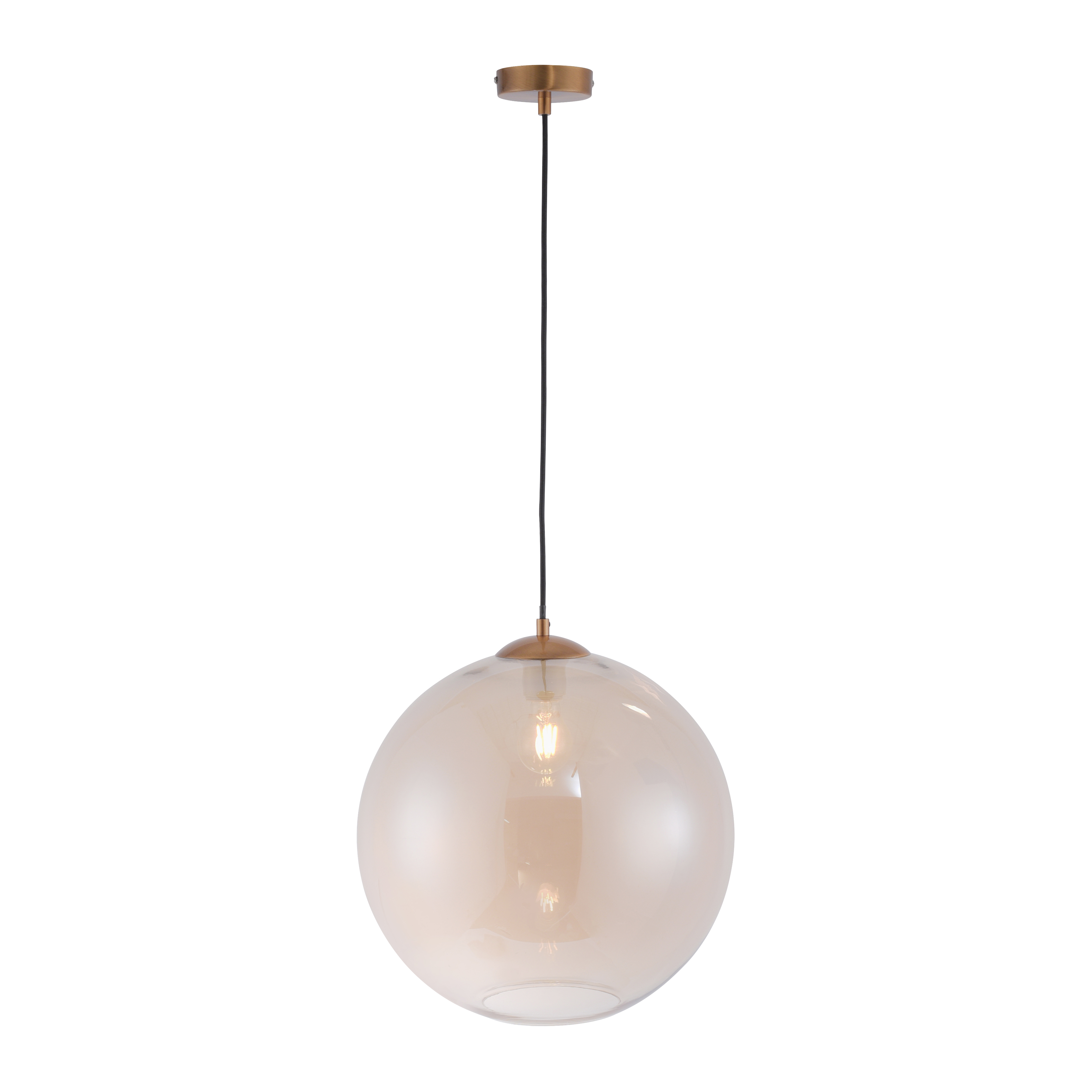 Art deco hanglamp messing met amber glas 40 cm - Pallot