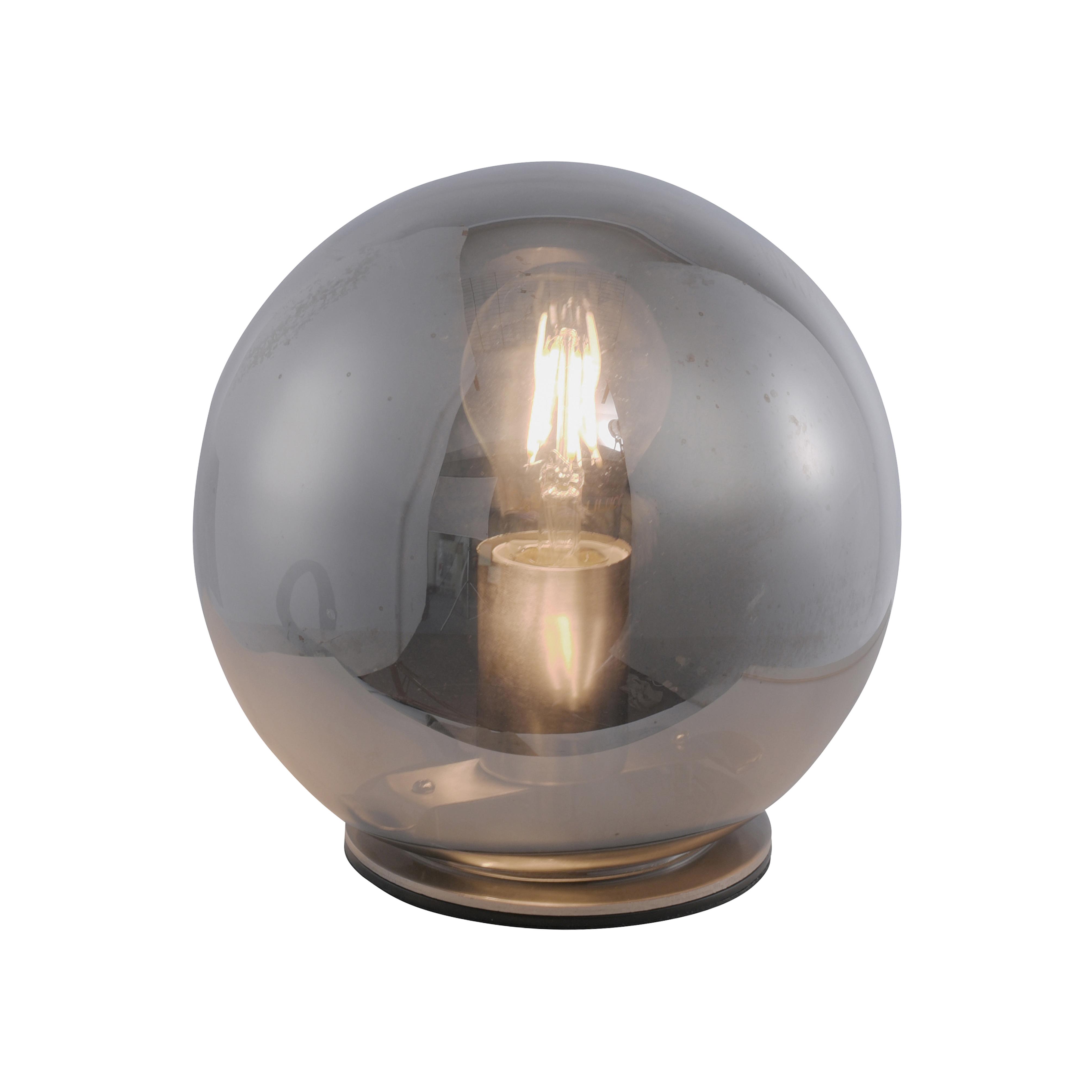 Art deco tafellamp staal met smoke glas 20 cm - Pallot