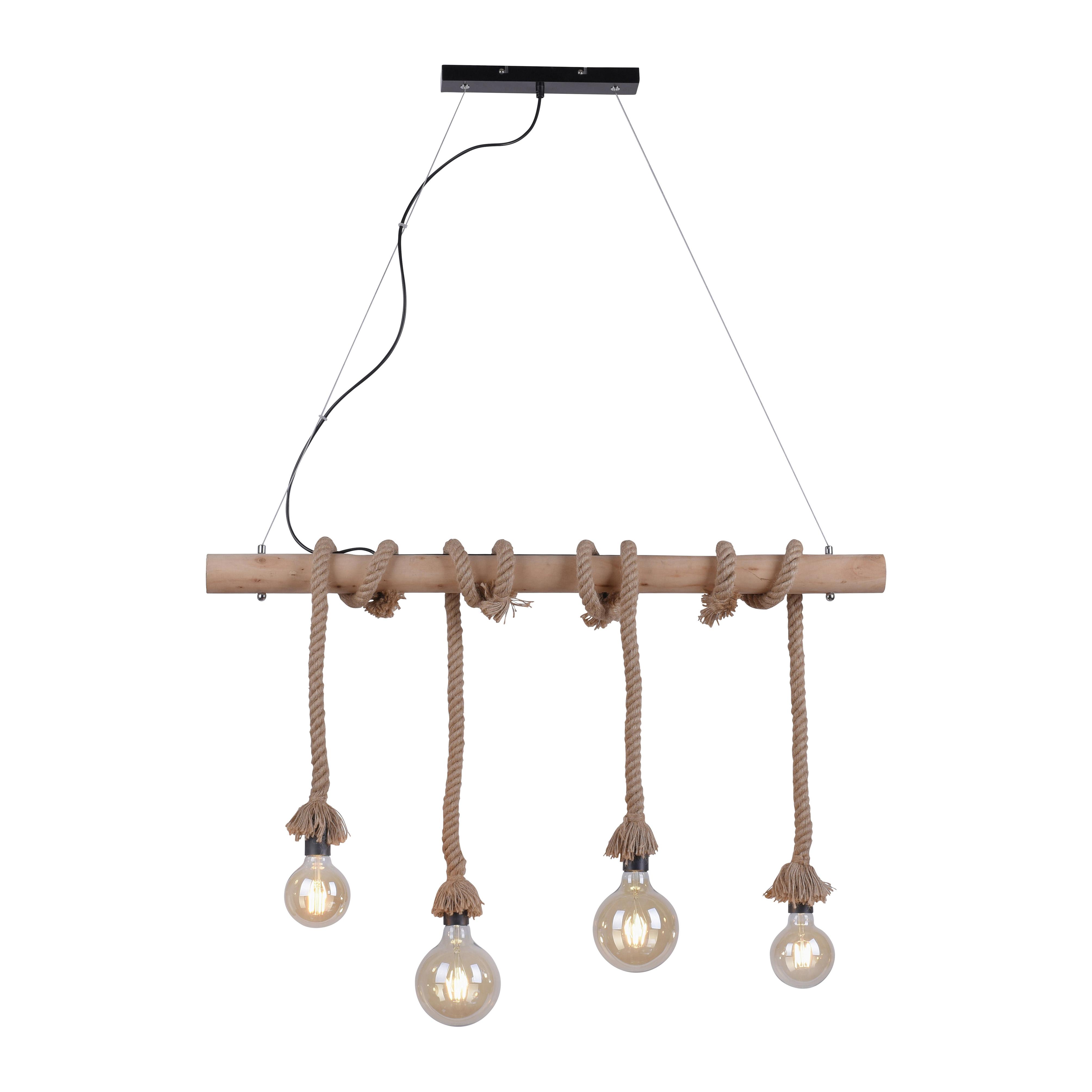 Landelijke hanglamp van touw 4-lichts - Ropa