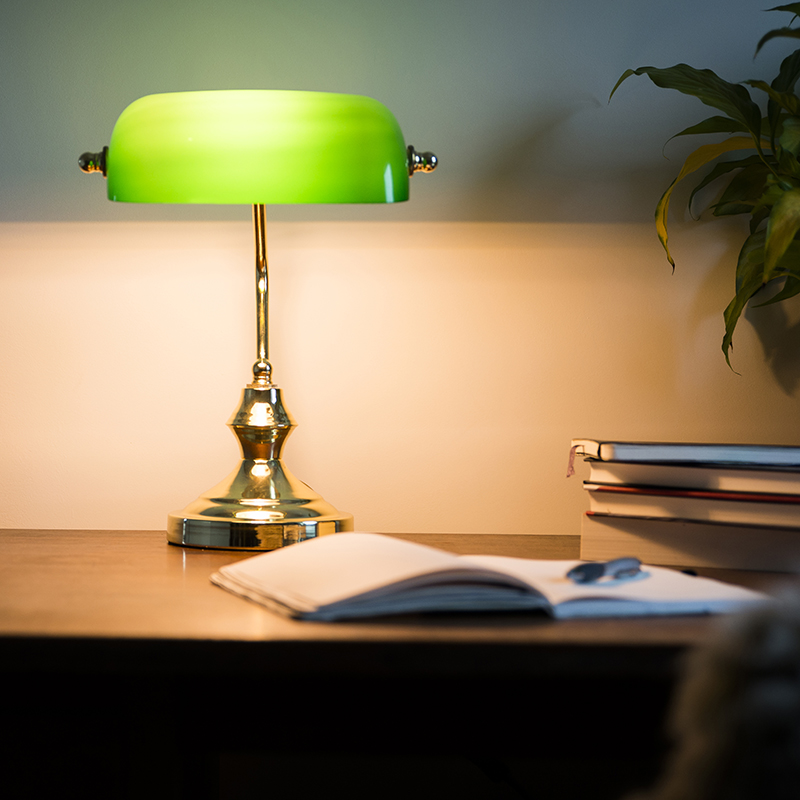 Klassieke tafellamp/notarislamp messing met groen glas - Banker
