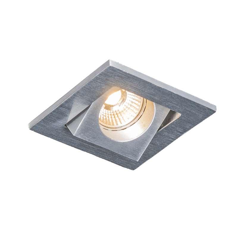 Inbouwspot Quale vierkant aluminium LED