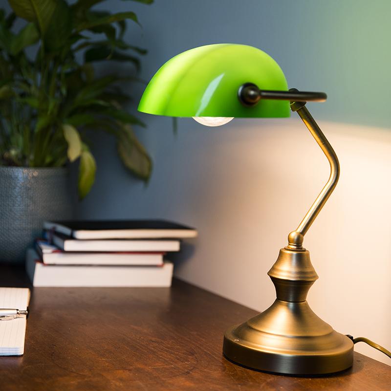 Klassieke Tafellamp/notarislamp Brons Met Groen Glas - Banker