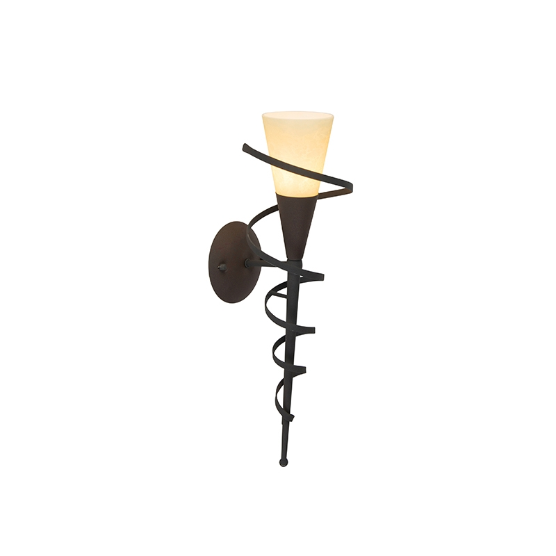 Landelijk wandlamp roestbruin met creme glas - Castle