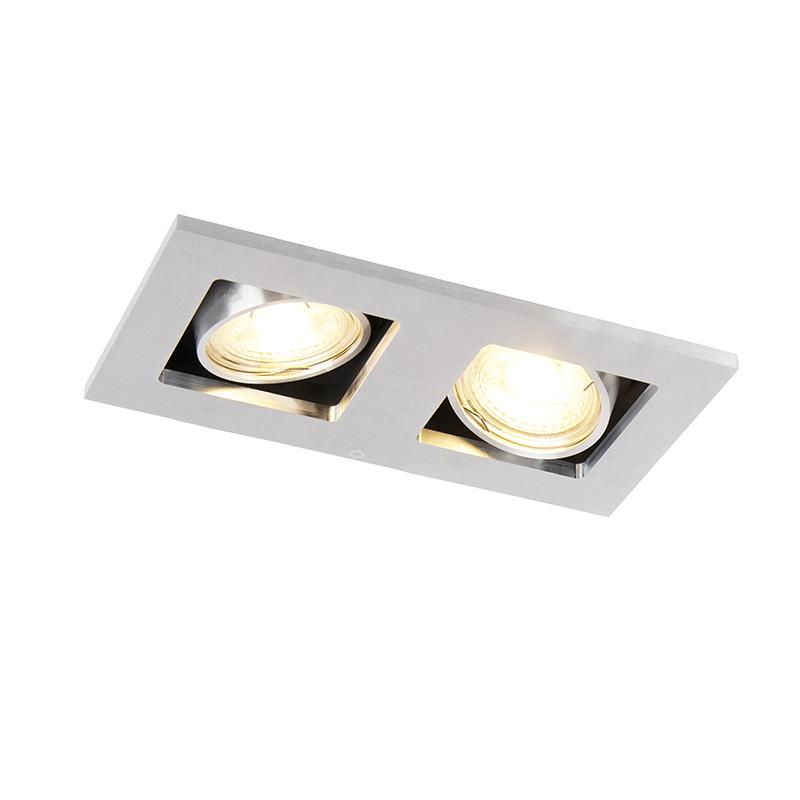 Rechthoekige inbouwspot 2- lichts aluminium - Qure