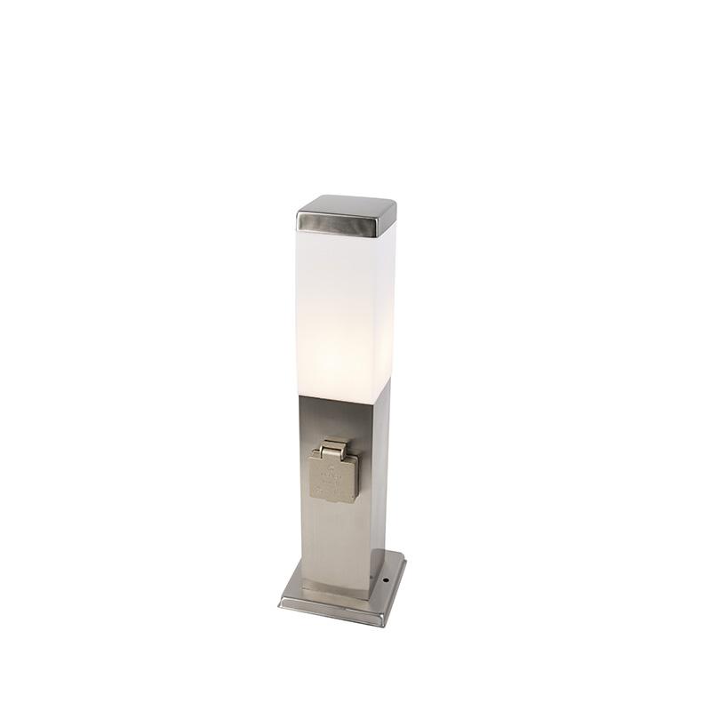 Moderne buitenlamp 45 cm staal met stopcontact IP44 - Malios