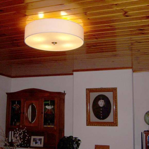 Landelijke Ronde Plafondlamp Wit 50cm - Drum