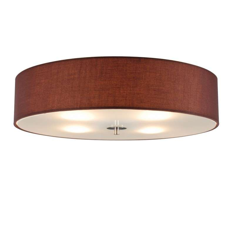 Landelijke ronde plafondlamp bruin 50cm - Drum