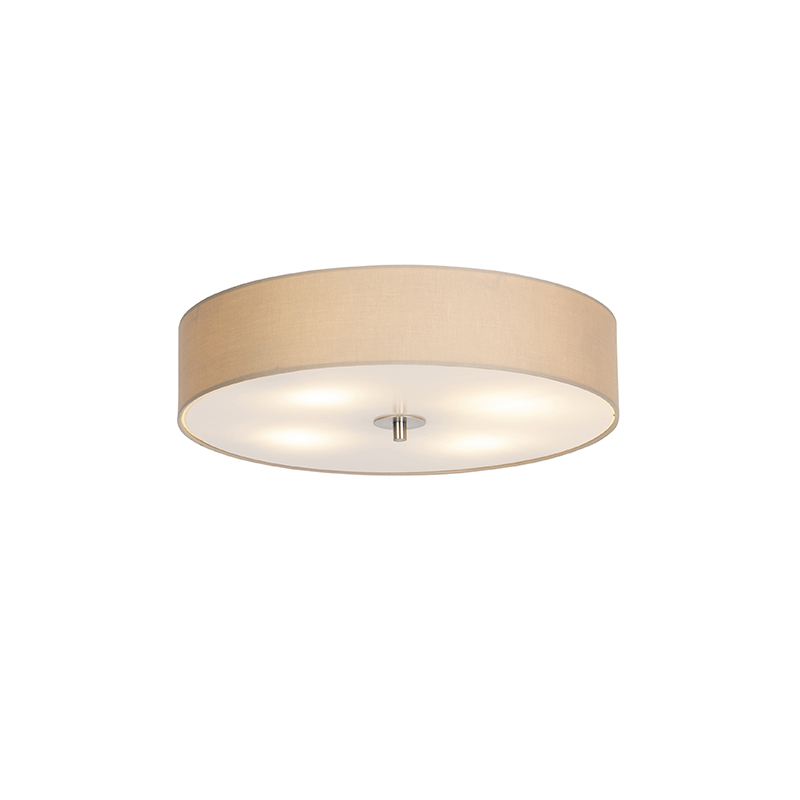 Landelijke Ronde Plafondlamp Beige 50cm - Drum