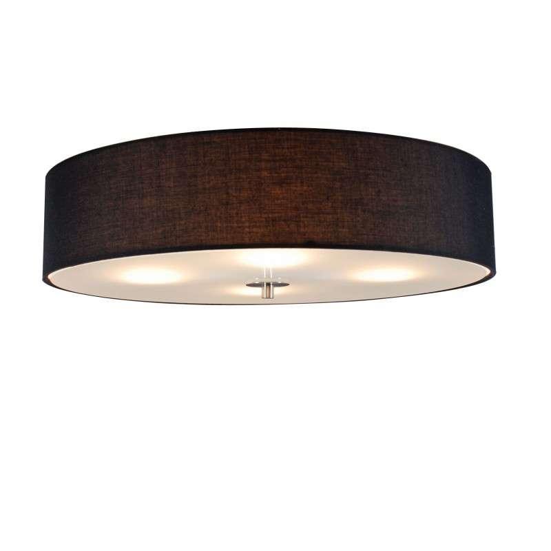 Landelijke Ronde Plafondlamp Zwart 50cm - Drum