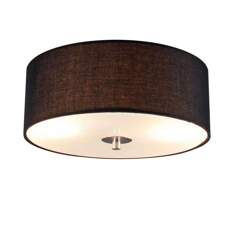 Landelijke Ronde Plafondlamp Zwart 30 Cm - Drum