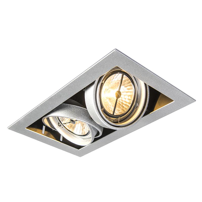 Inbouwspot staal AR111 verstelbaar 2-lichts - Oneon