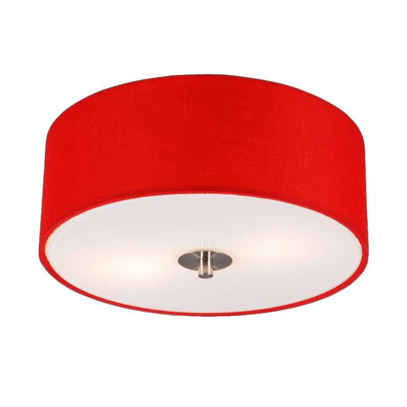 Moderne Ronde Plafondlamp Rood 30cm - Drum