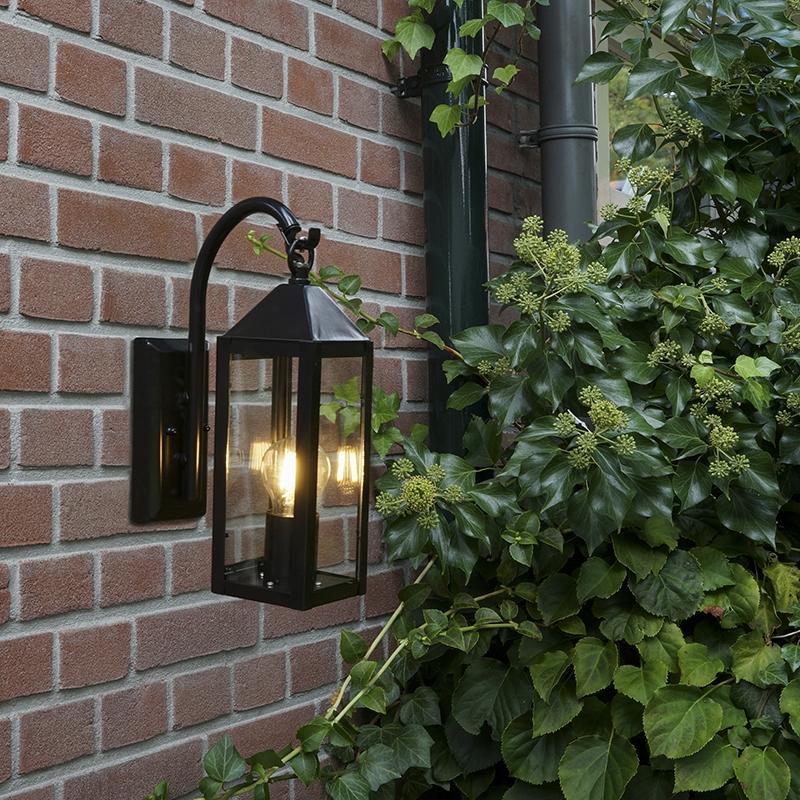 Landelijke buitenwandlamp zwart - Bussum