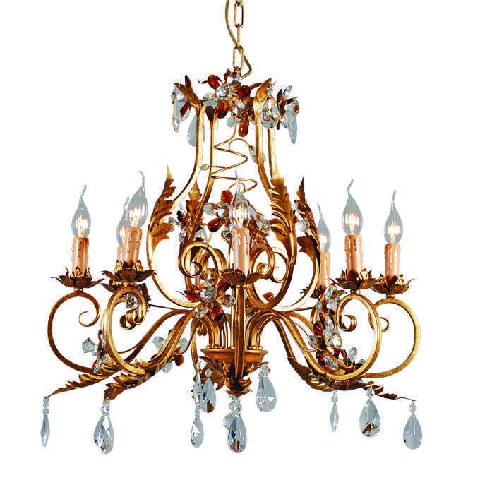 Kroonluchter Sissy 8-lichts antiek goud