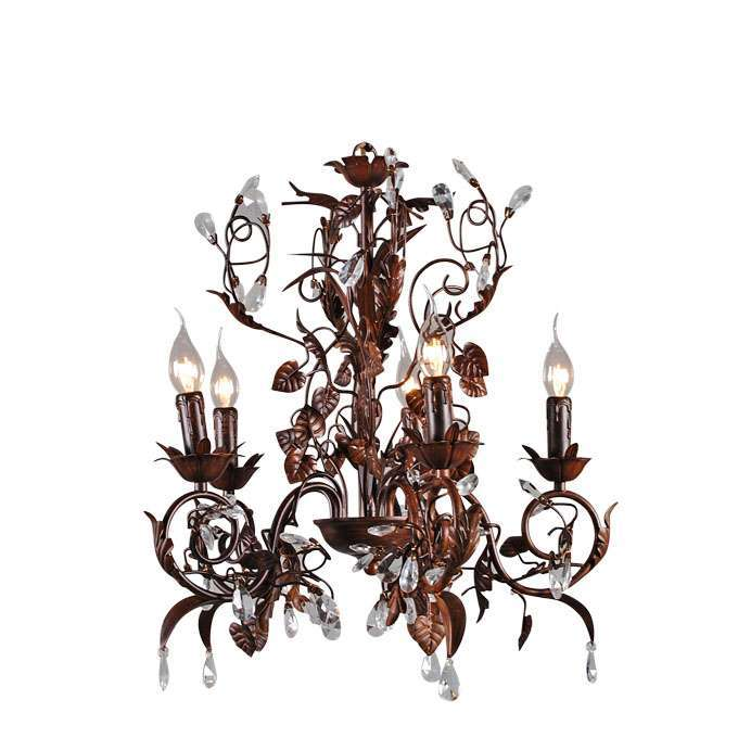 Kroonluchter Romance 5-lichts antiek bruin