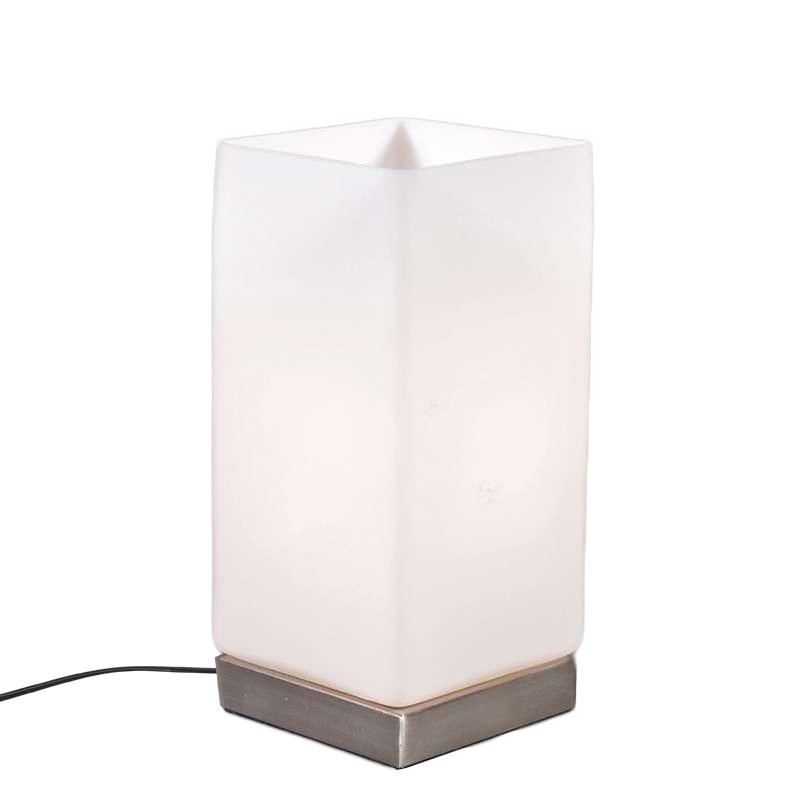 Tafellamp Accu staal met wit glas