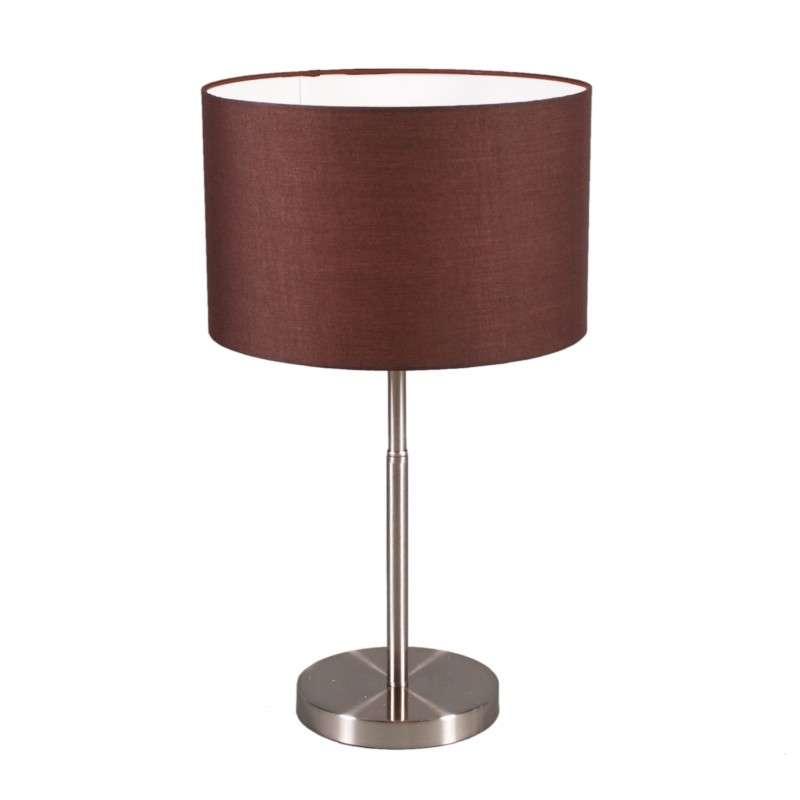 Tafellamp Drum staal met kap bruin