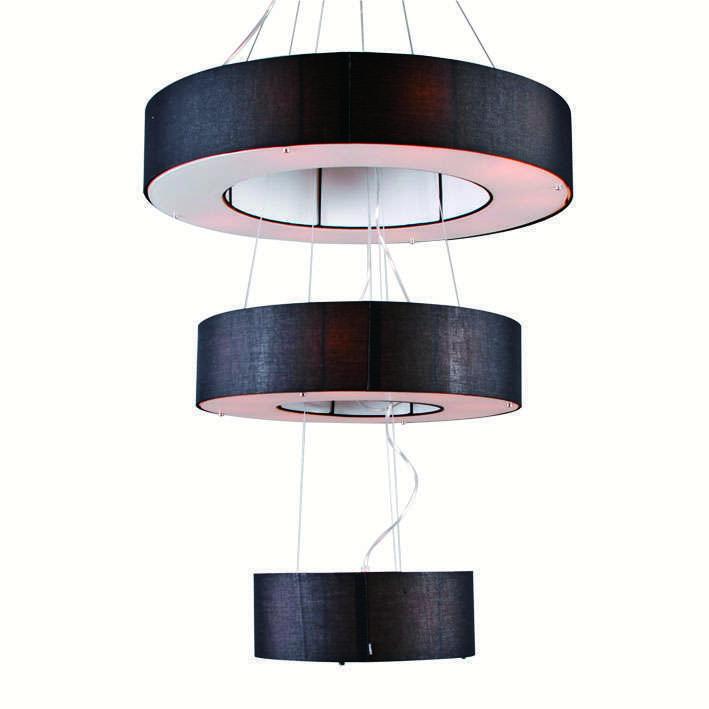 Hanglamp Drum Open 3-laags zwart