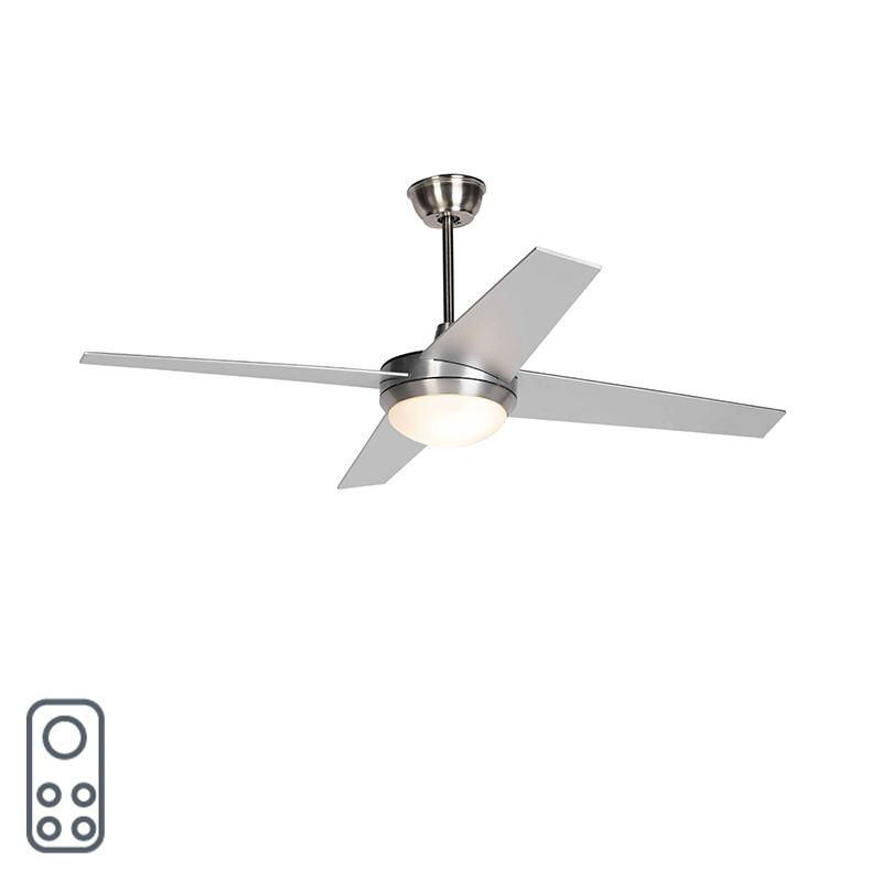 Plafondventilator zilver met afstandsbediening - Roar 52