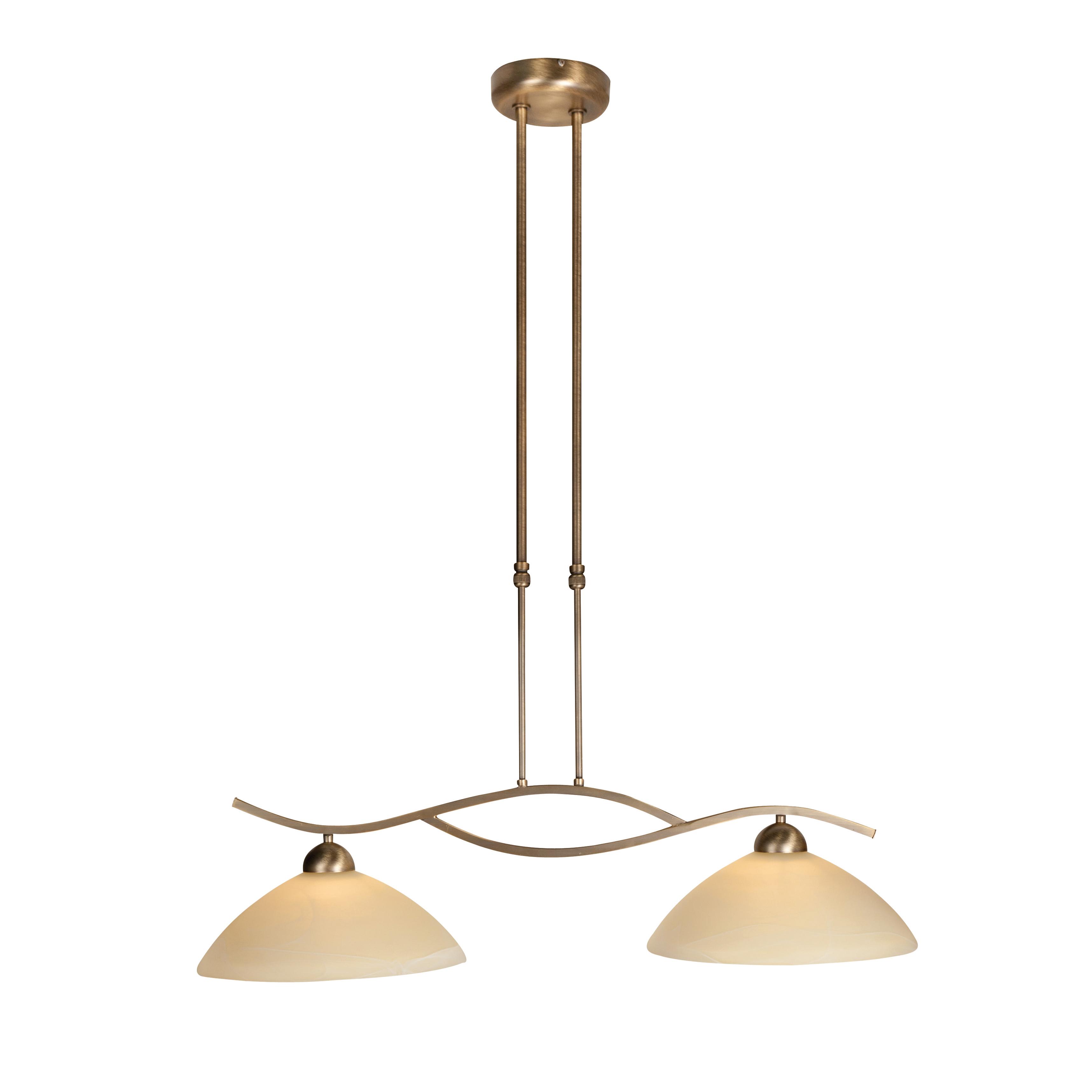 Klassieke hanglamp brons met schuifstang 2-lichts - Corsaire