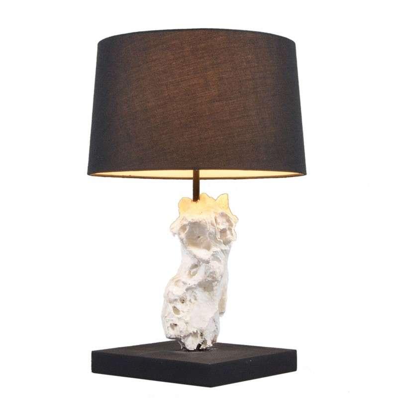 Tafellamp Kanya wit met kap zwart