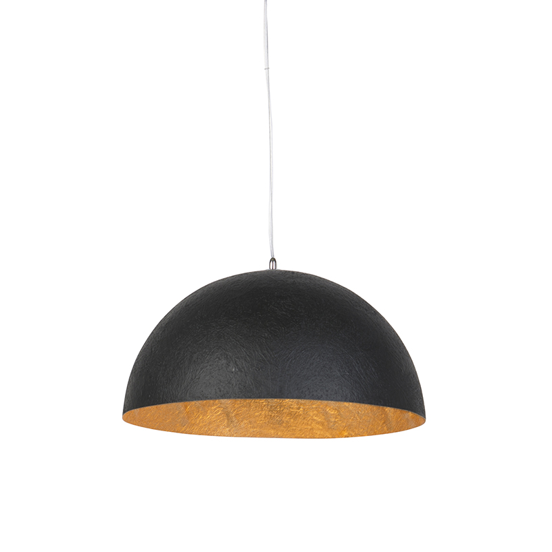 Moderne ronde hanglamp zwart met gouden binnenkant 50cm - Magna