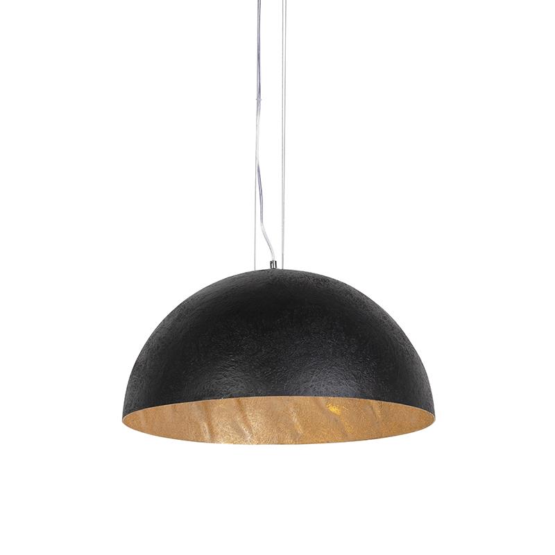 Nowoczesna lampa wisząca czarna ze złotym wnętrzem 50cm - Magna