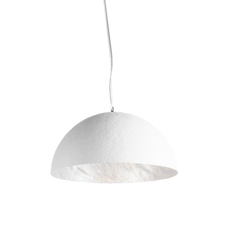 Moderne ronde hanglamp wit met zilveren binnenkant 50cm - Magna