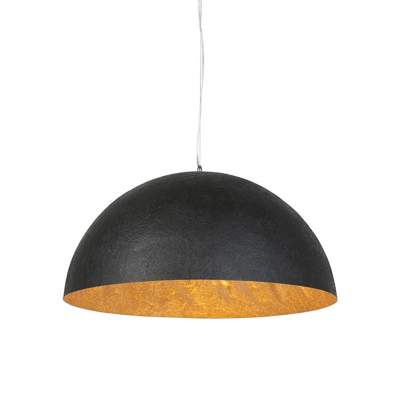 Moderne ronde hanglamp zwart met gouden binnenkant 70cm - Magna