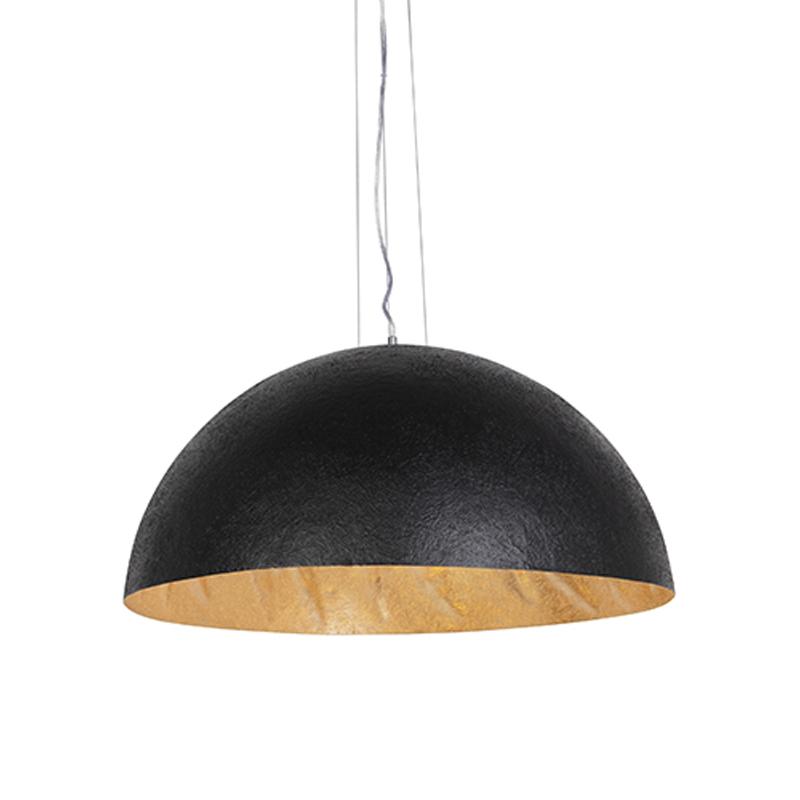 Nowoczesna lampa wisząca czarna ze złotym wnętrzem 70cm - Magna